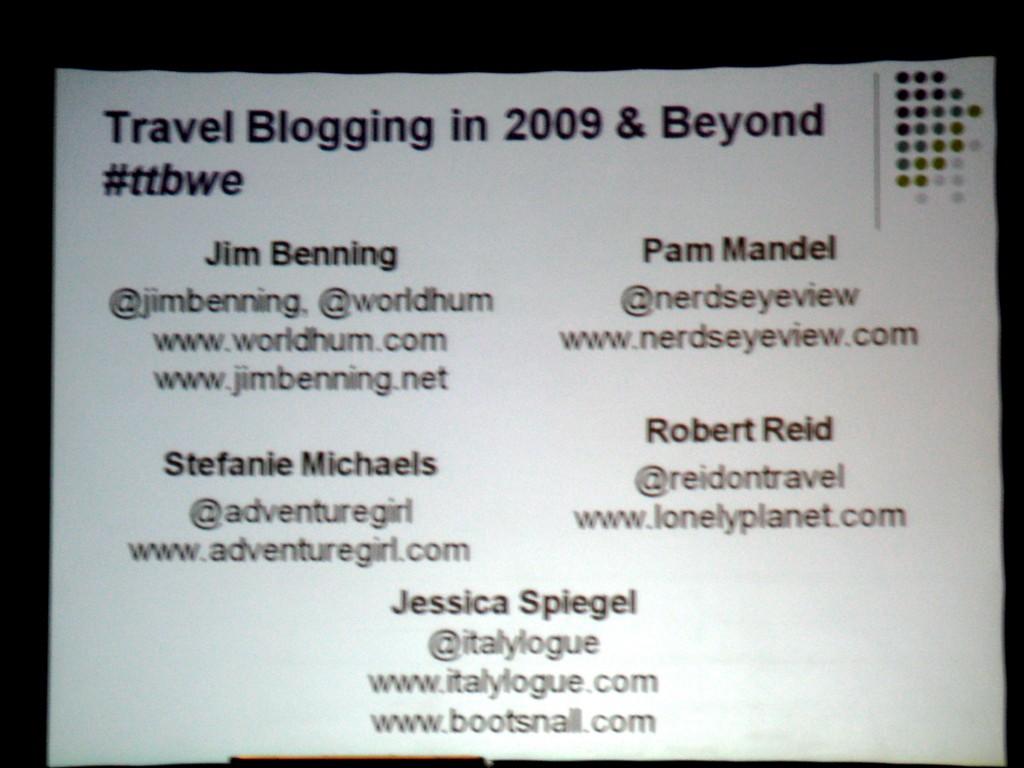 Travel Blogging in 2009
